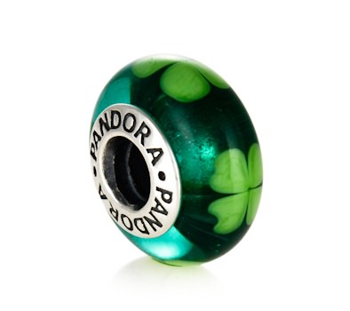 Pandora Green Shamrock Murano Glass Charm 790927 John