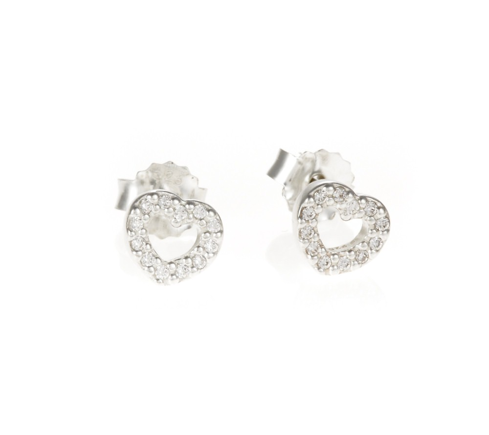 Pandora Earrings Silver: Pandora Silver Pav© Heart Stud Earrings 290528CZ