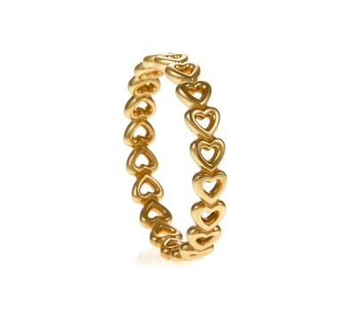 PANDORA Golden Delicate Hearts Ring