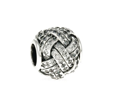 Pandora Love Knot Silver Charm With Cubic Zirconia
