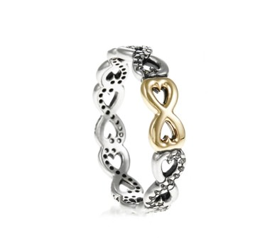 Pandora Infinity Silver Ring With 14k And Cubic Zirconia