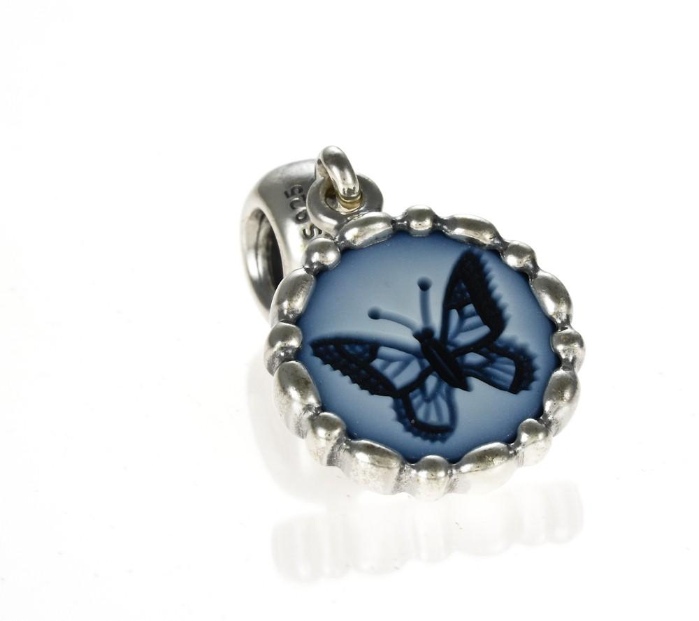 Pandora Silver  U0026 Agate Butterfly Cameo Dangle Charm