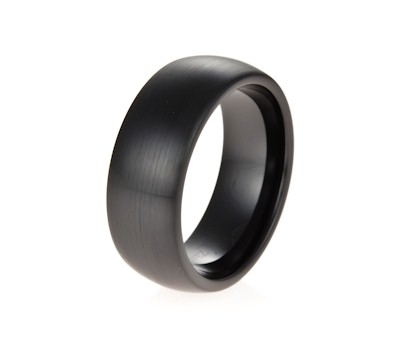 John Greed Brushed Black Ceramic Cz Curved 8mm Mens Ring