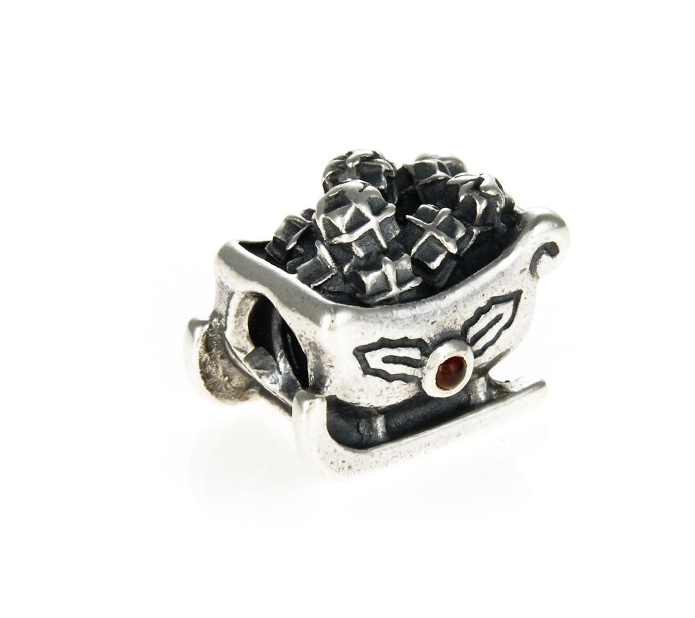 pandora silver garnet santa s sleigh charm 790562ga